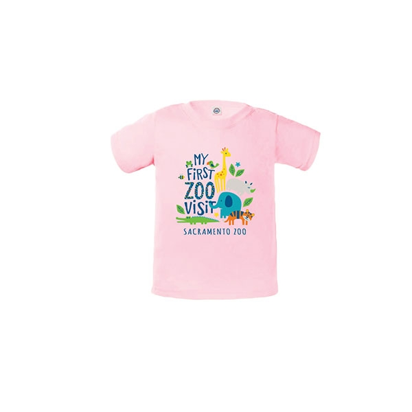 INFANT TEE IST VISIT STACK ZOO PINK