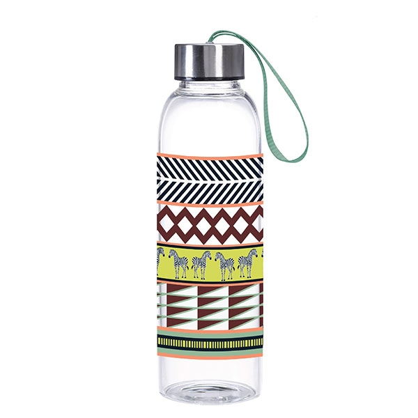 ZERBA PRINT GLASS WATER BOTTLE
