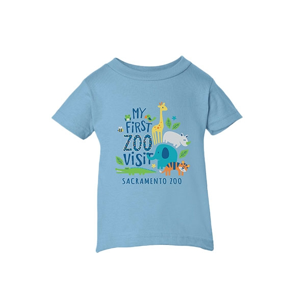 INFANT TEE IST VISIT STACK ZOO LIGHT BLUE